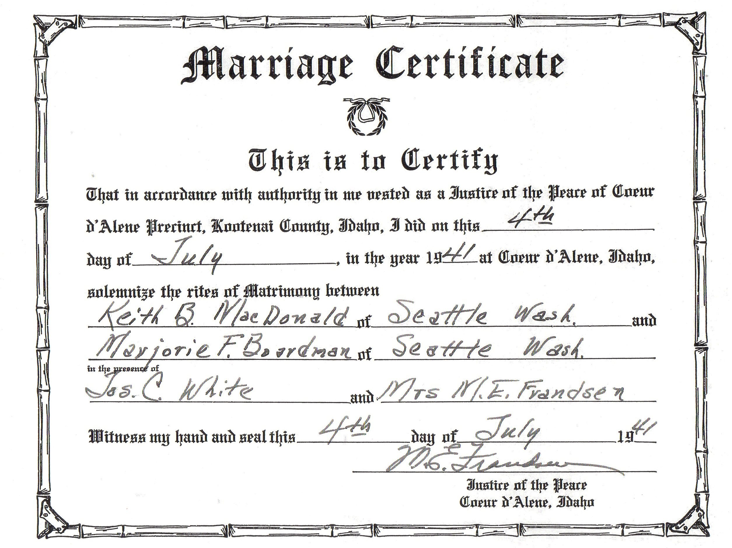 Application for a certificate of marriage in quebec