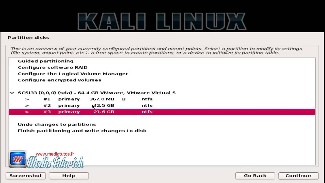 Install kali linux manual partition