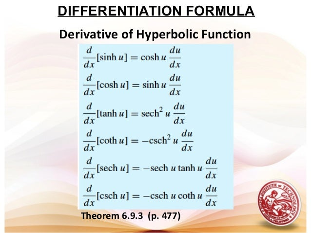 Differentiation of hyperbolic functions pdf